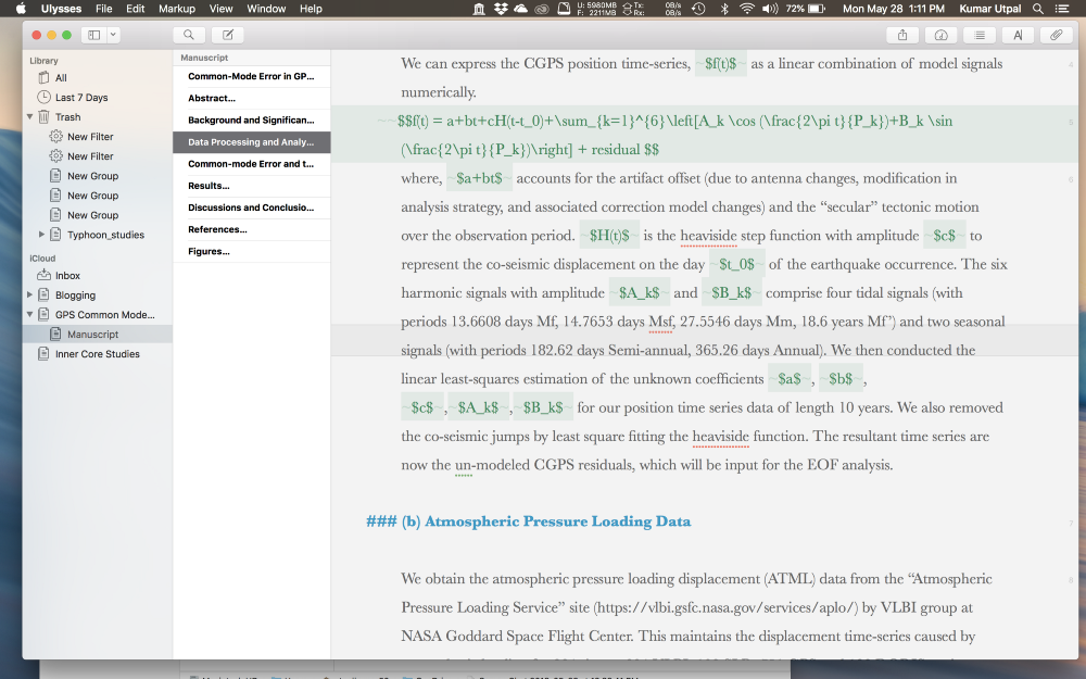Writing scientific papers in ulysses