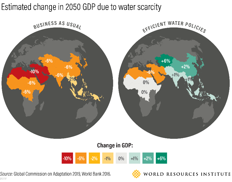 Graphic showing the world and expected changes, per region, in GDP due to impending water scarcity