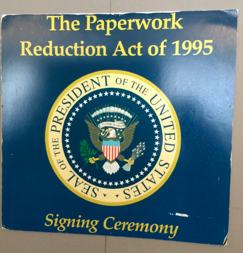 Paperwork Reduction Act of 1995 aged sign