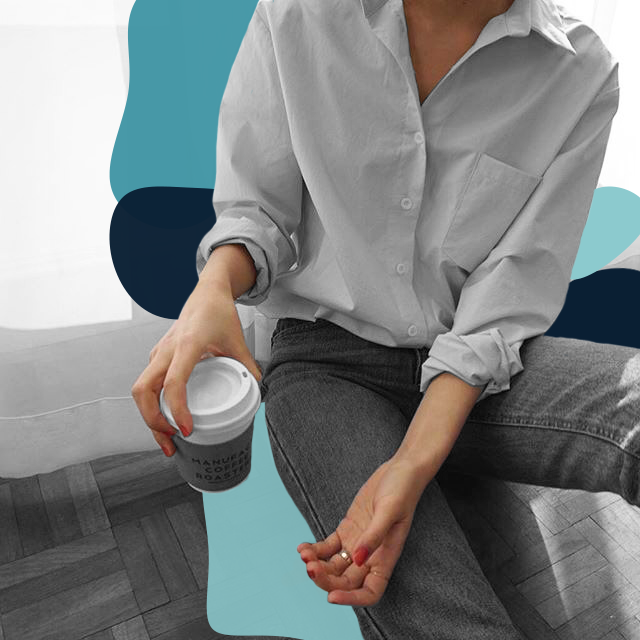 Stylistic edit of a working woman grabbing a cup of coffee.