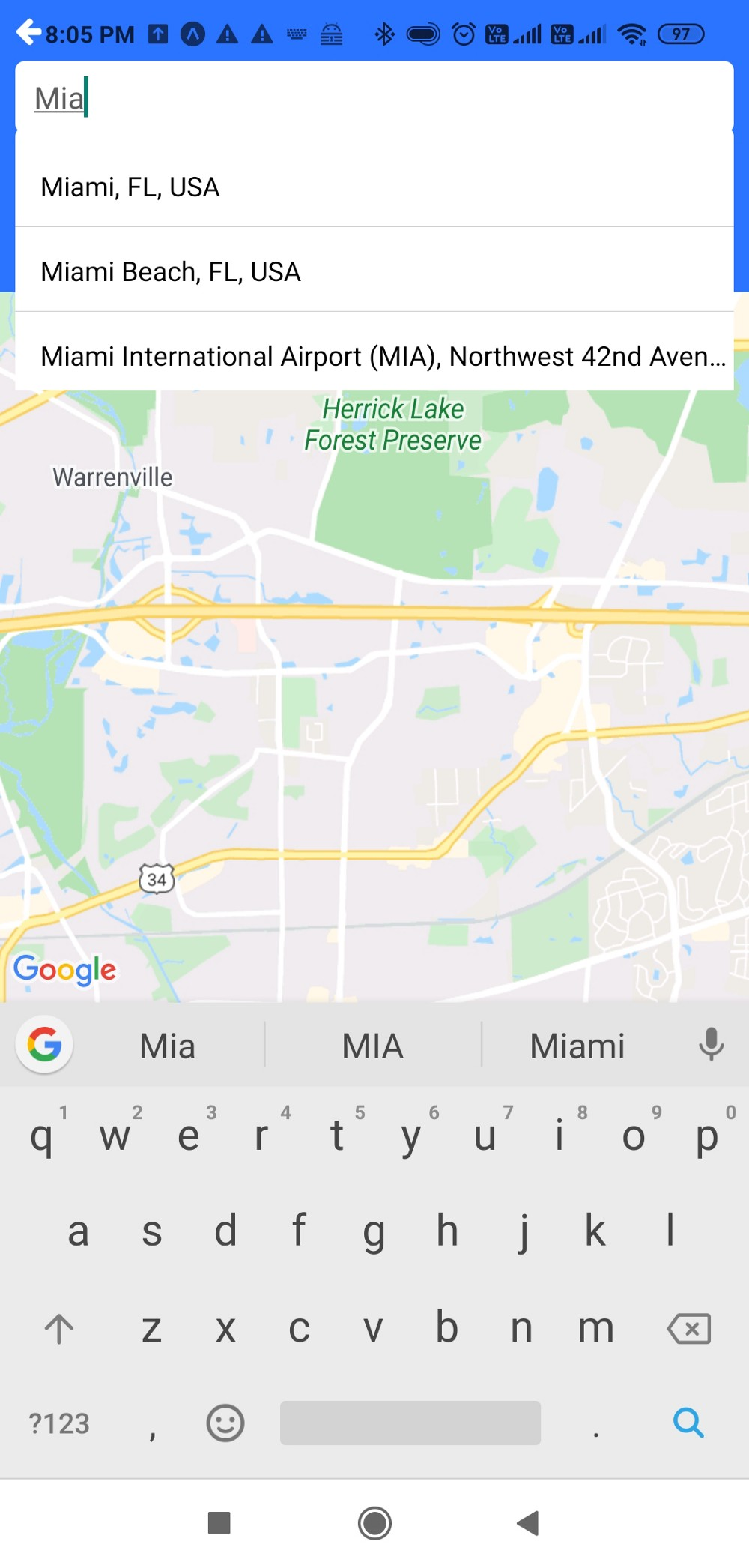 Screeshot of the Corus app showing the React Native Maps, Datetime picker, and Google Places Autocomplete in action