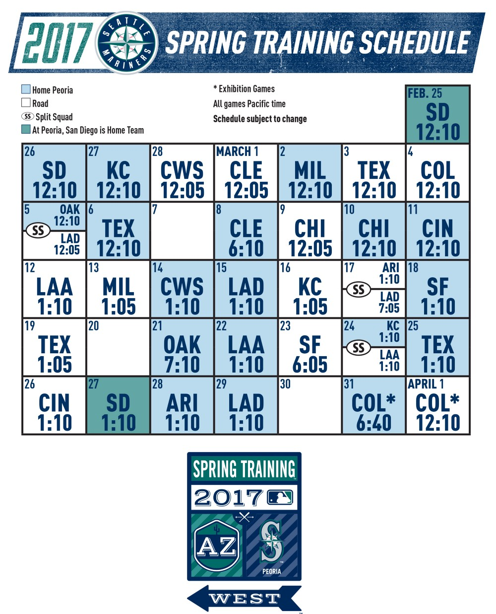 Mariners Announce 2017 Spring Training Schedule From The