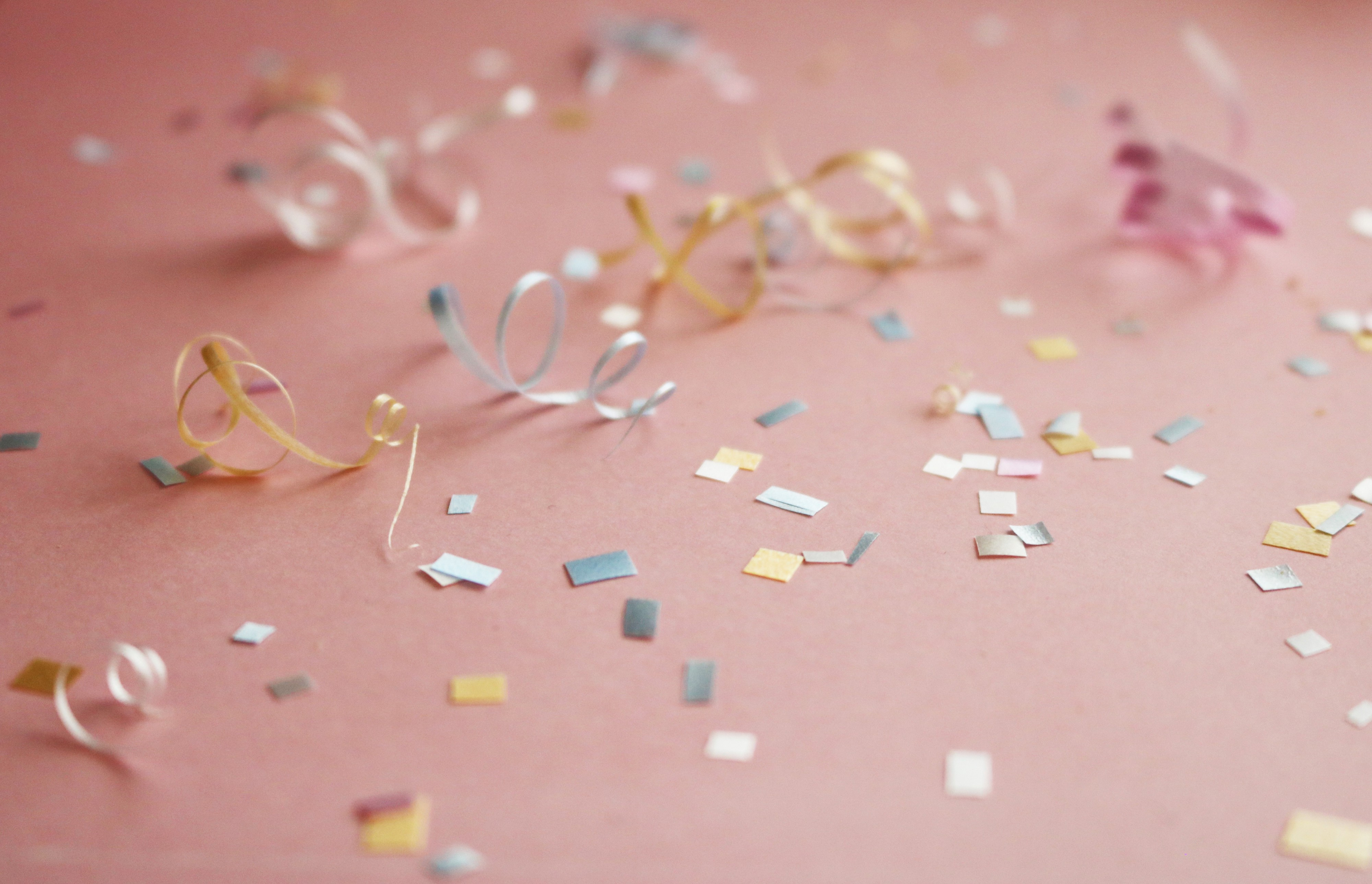Confetti on a pink background