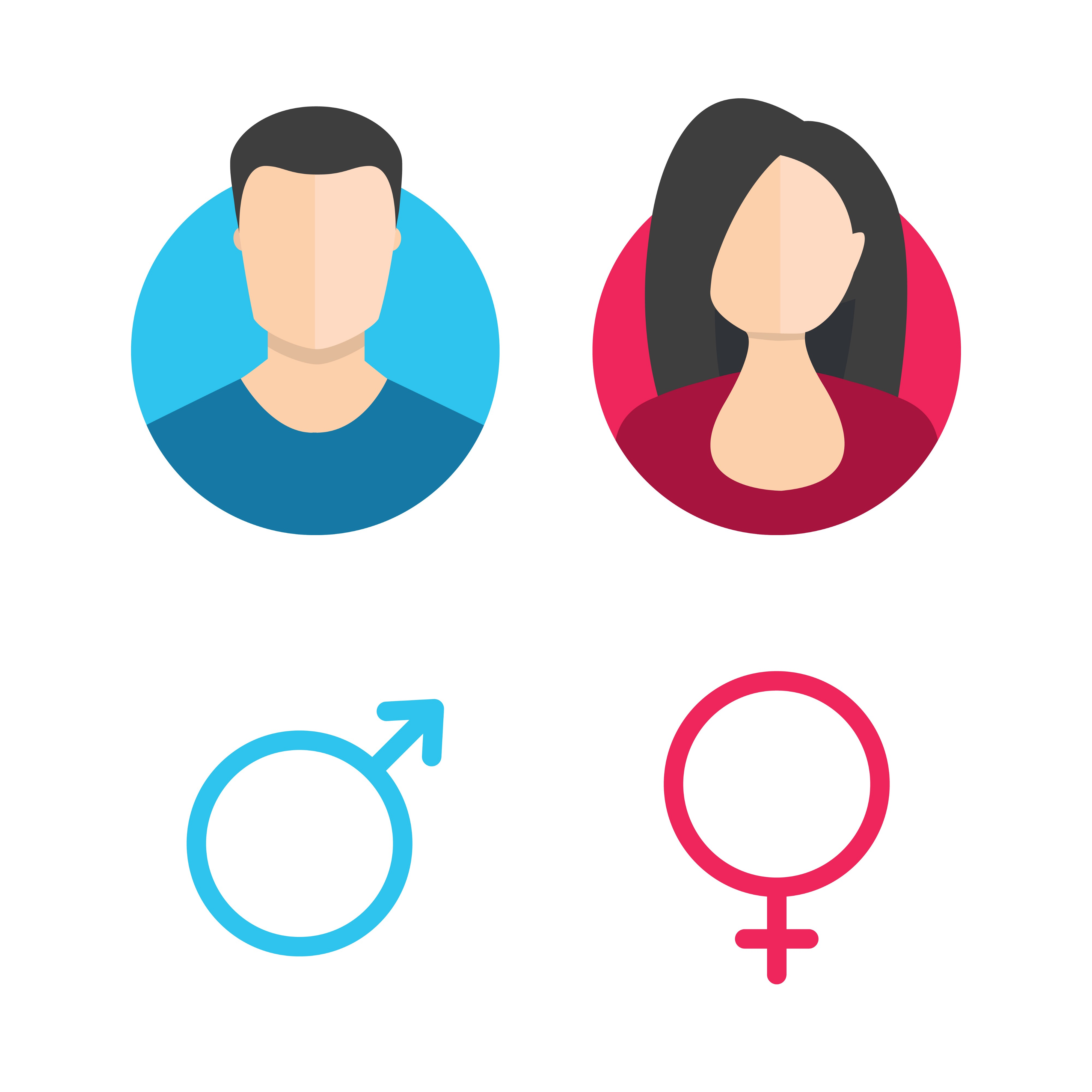 Illustration showing the two sexes - male and female and their related icons