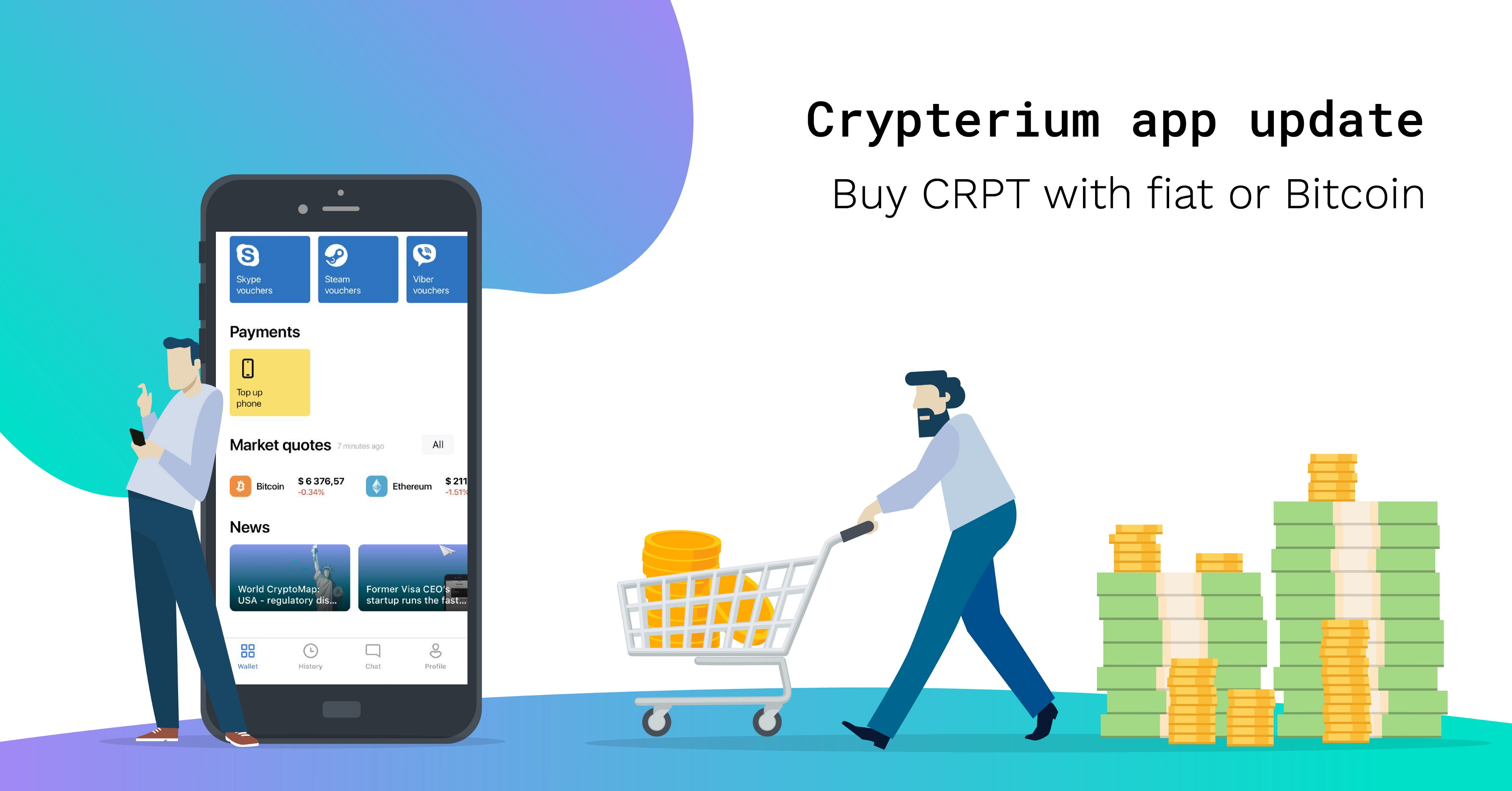 Crypterium app update! Buy CRPT with fiat or Bitcoin in the