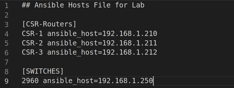Ansible Hosts File for lab