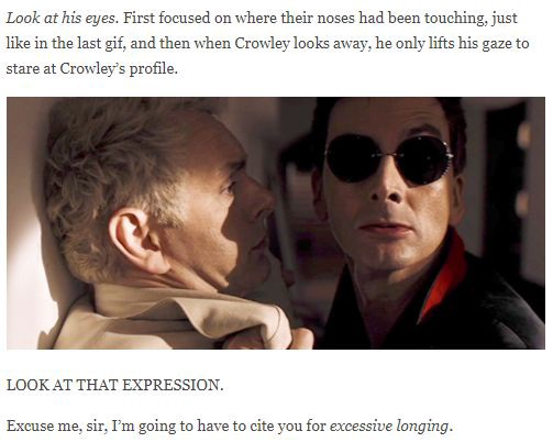 A frame of the show where Crowley has Aziraphale against the wall, complete with analysis of their facial expressions.