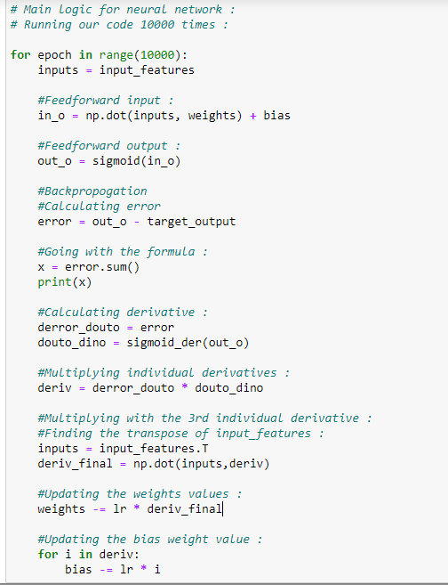 Neural networks Python source code for points 10.1 to 10.7