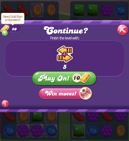 """A """"Play On!"""" pop-up entices users to use purchasable boosters to override a lost level."""