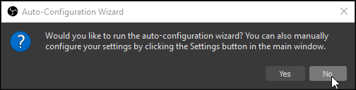 OBS first start waiting for confirmation if auto-configuration wizard should be executed