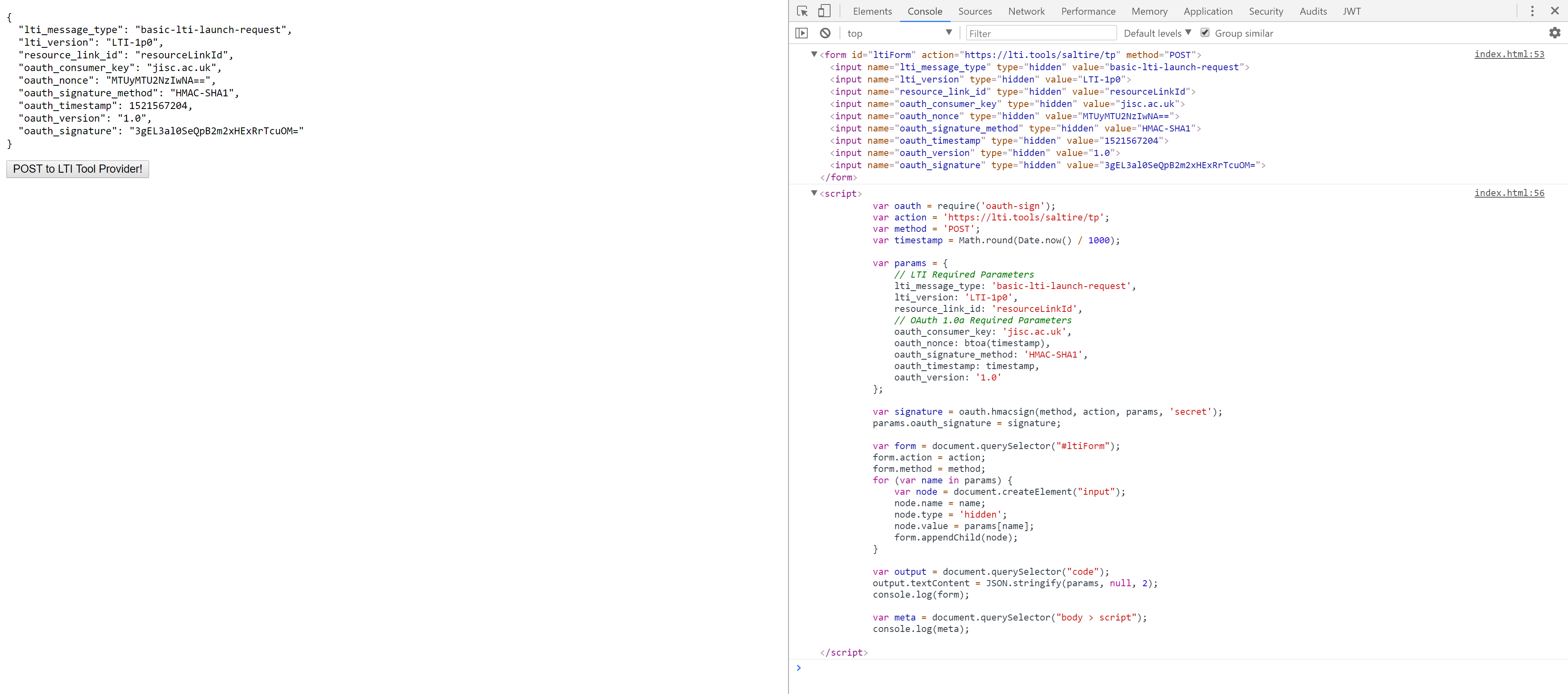 Simple LTI Tool Consumer in HTML and JavaScript - Learning