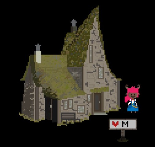 This screenshot shows the museum, a small house with a mossy green roof. Myla stands outside, smiling.