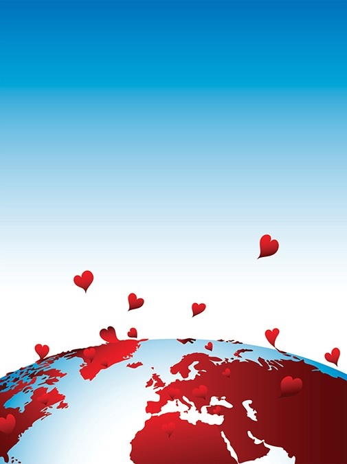 planet earth in front of a bright blue sky with bright red hearts floating into the sky, representing enlightened communities