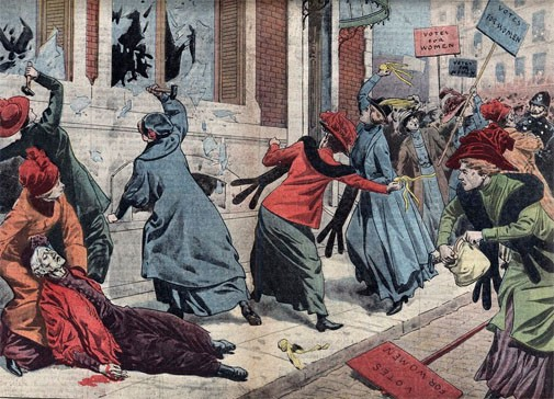 A magazine illustration of suffragettes smashing windows with hammers and bricks during a demonstration, 1912