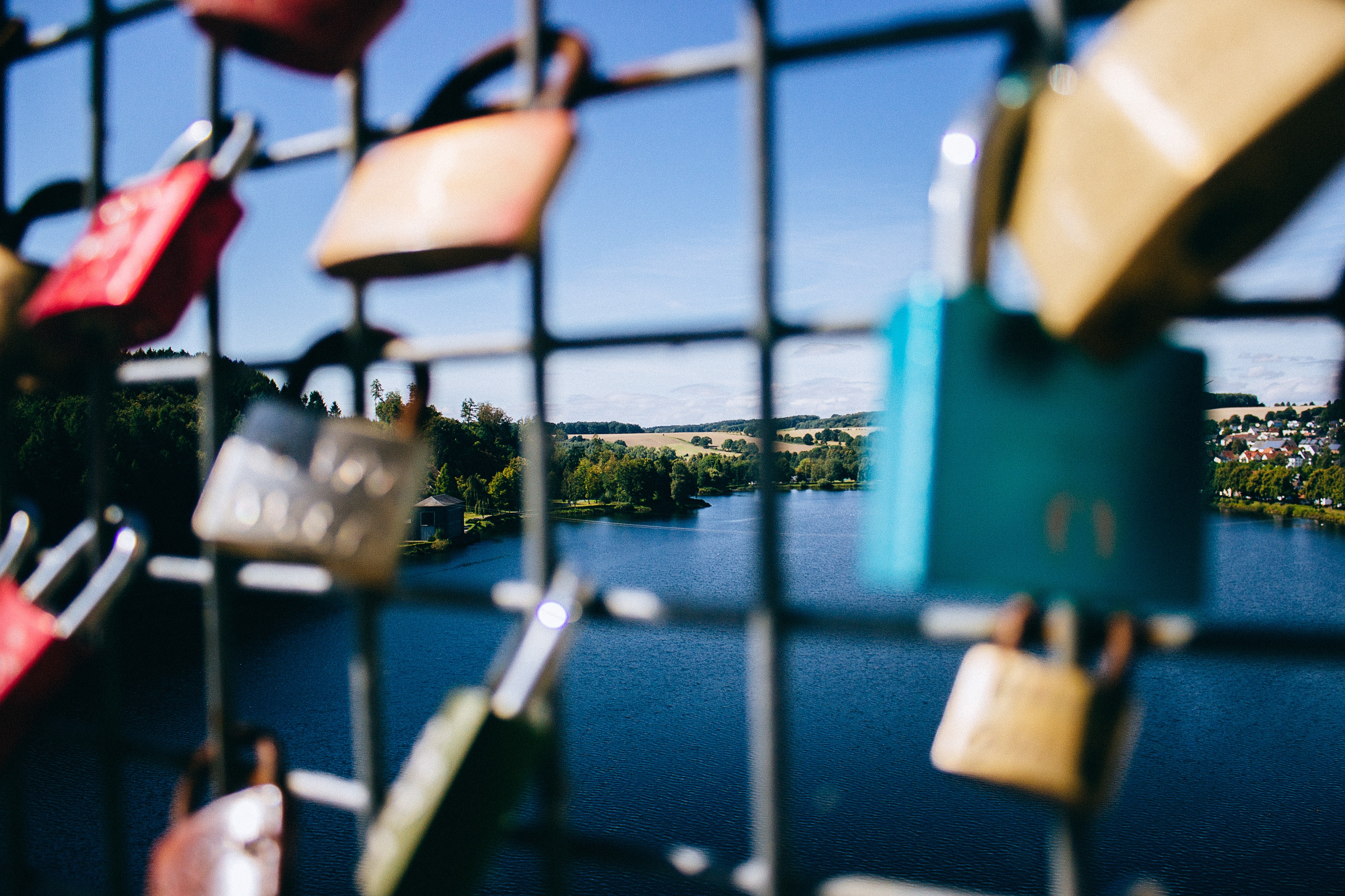 Locks on a metal fence overlooking a lake