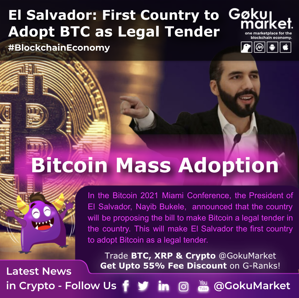 El Salvador looks to become the world's first country to adopt #Bitcoin as legal tender