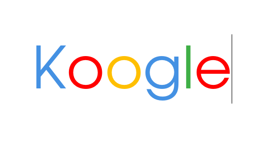 """Koogle logo, """"K"""" colored with blue, 2 """"o"""" colored with red and yellow respectively, """"g"""" is blue, """"l"""" is green and """"e"""" is red."""
