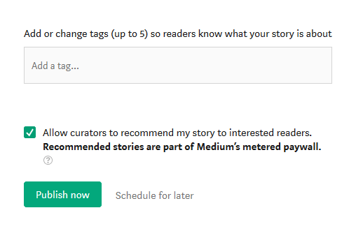 Screenshot of adding hashtags before finalizing a post on Medium to publish it.
