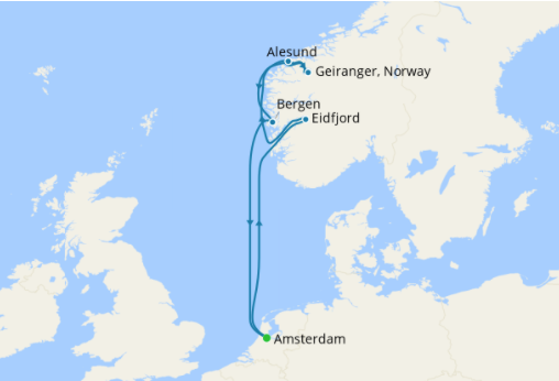 map of a cruiseliner trip