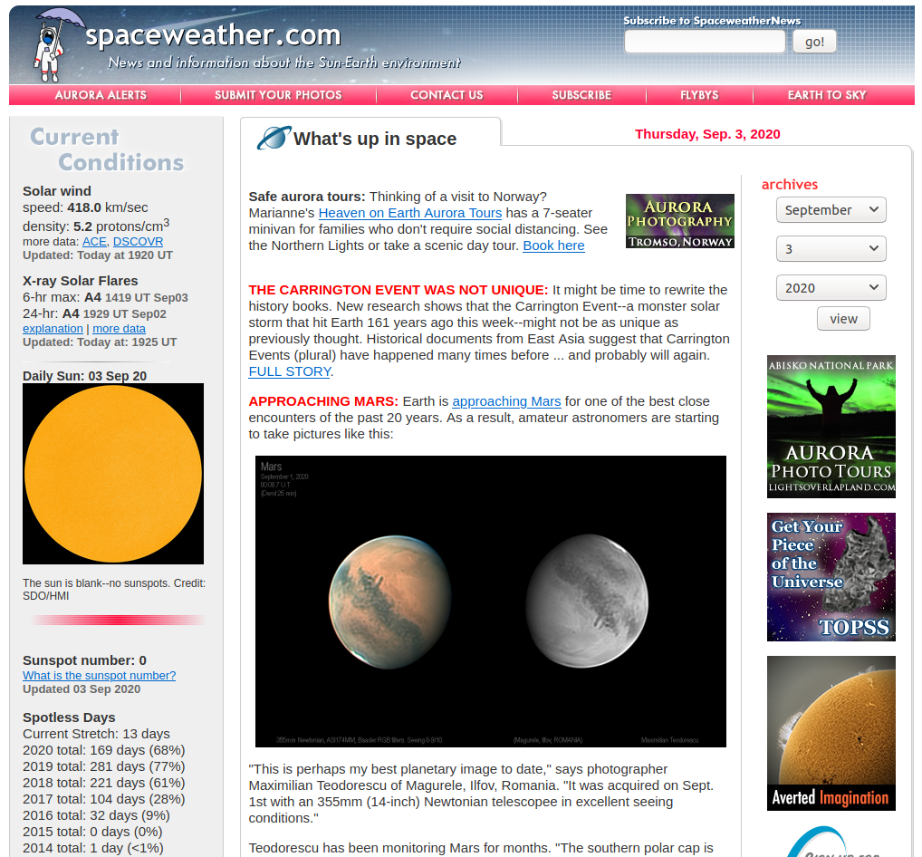 space weather dashboard
