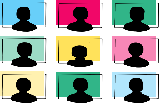 A 3x3 grid of heads in 16x9 Zoom boxes with the blue, pink, green, and yellow colors of OOUX post-its as background.