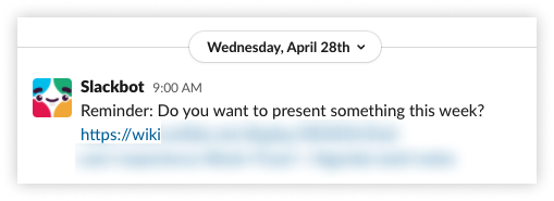 Screenshot from Slack showing our reminder to add something to the braintrust agenda.