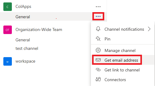 Microsoft Teams channel get email address