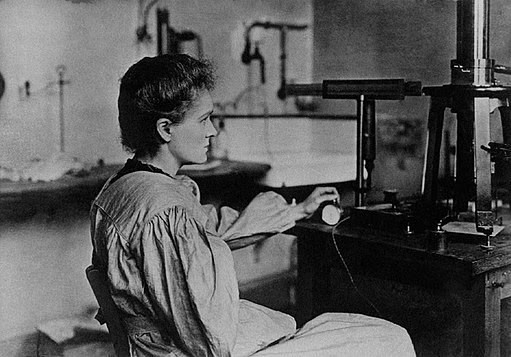 An antique photograph of Marie Curie