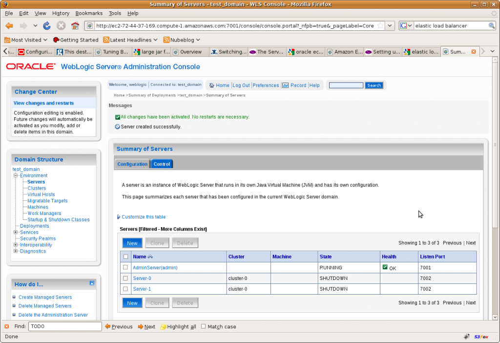 Setting up a load-balanced Oracle Weblogic cluster in Amazon EC2