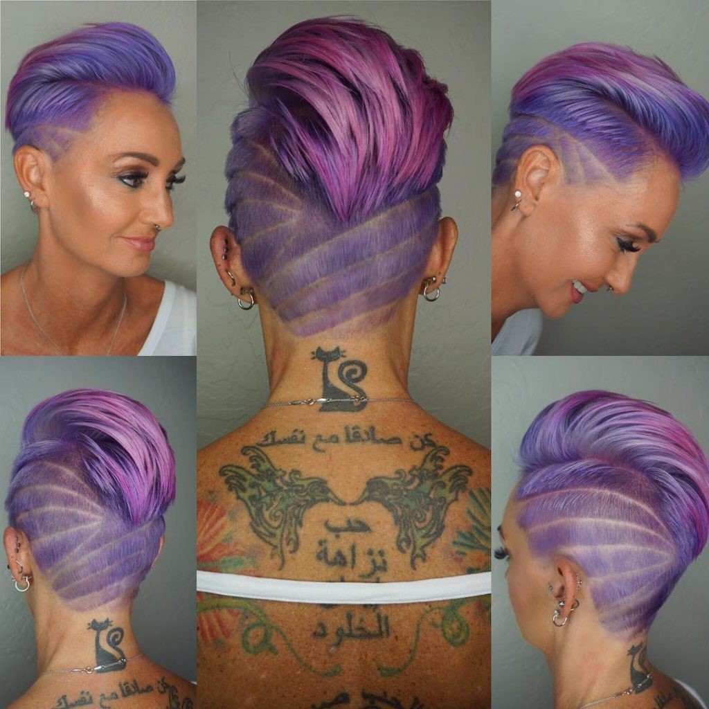 Wild Purple Pink Ombre Faux Hawk Pixie with Shave Art Details