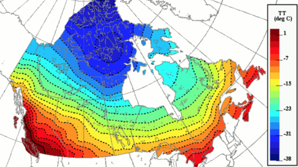 Canada Weather Map Temperature Increasing Fine Scale Temperature Details from Weather Model