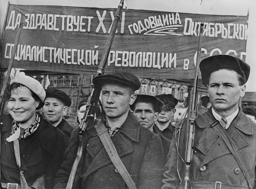 Soviet Workers Commemorate the October Revolution in 1938