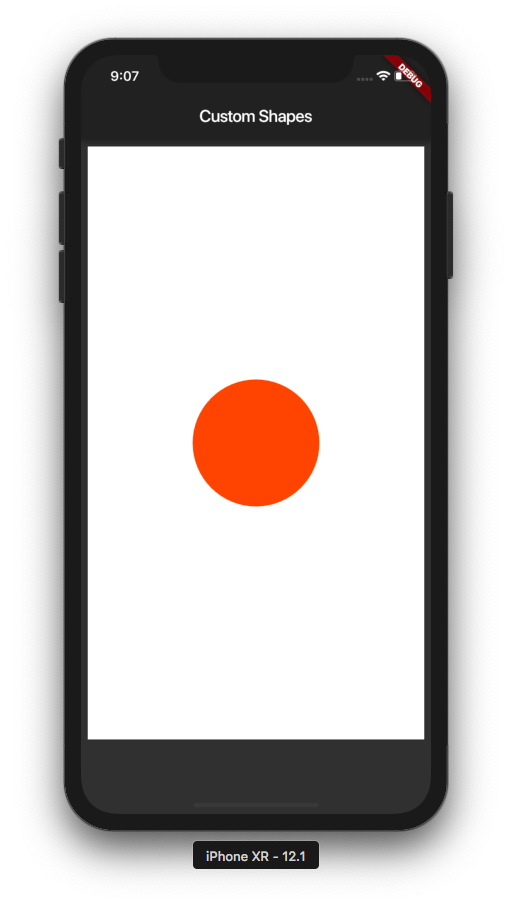 The Orange circle drawn over the white rectangle after fixing the code.