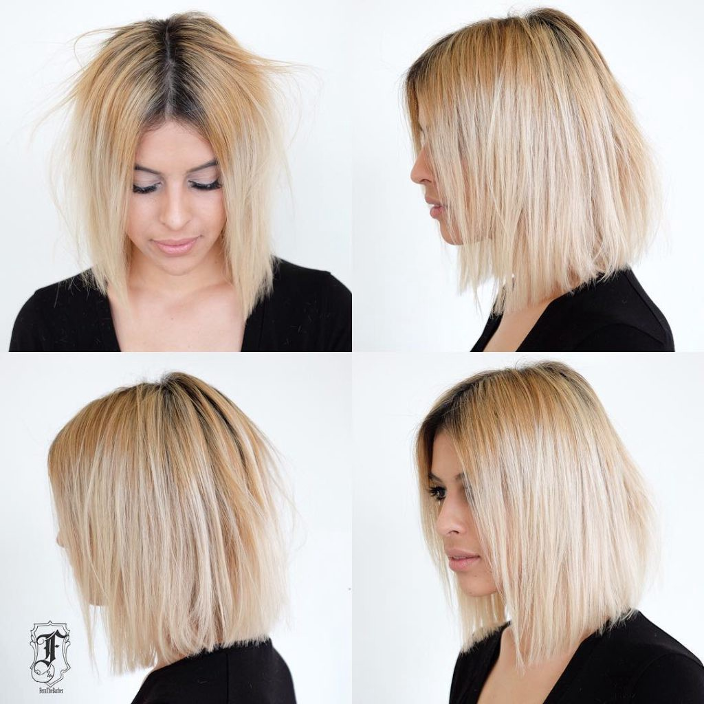 Slightly Disheveled Blunt Shoulder Length Bob On Blonde Hair With Dark Roots By Hairstyleology Medium