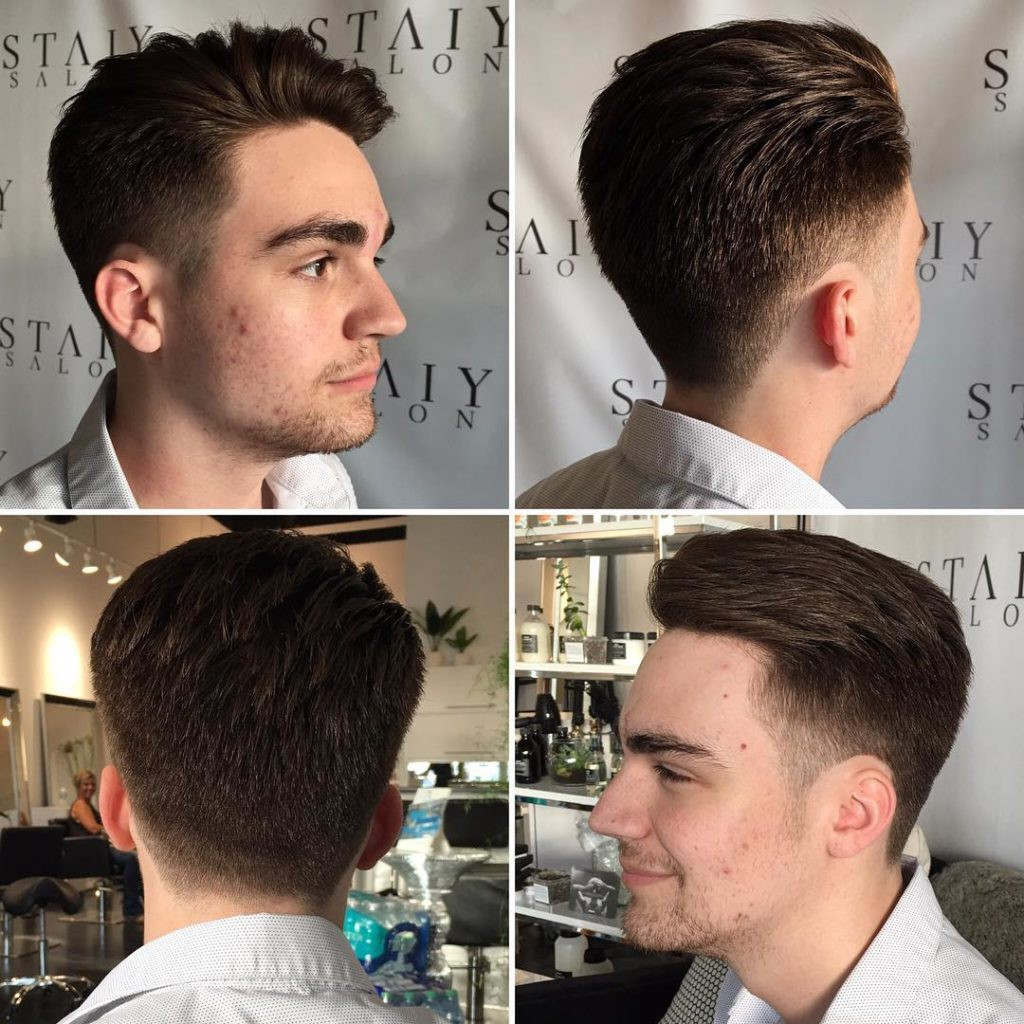 Mens Short Textured Quiff With Tapered Sides By Hairstyleology Medium