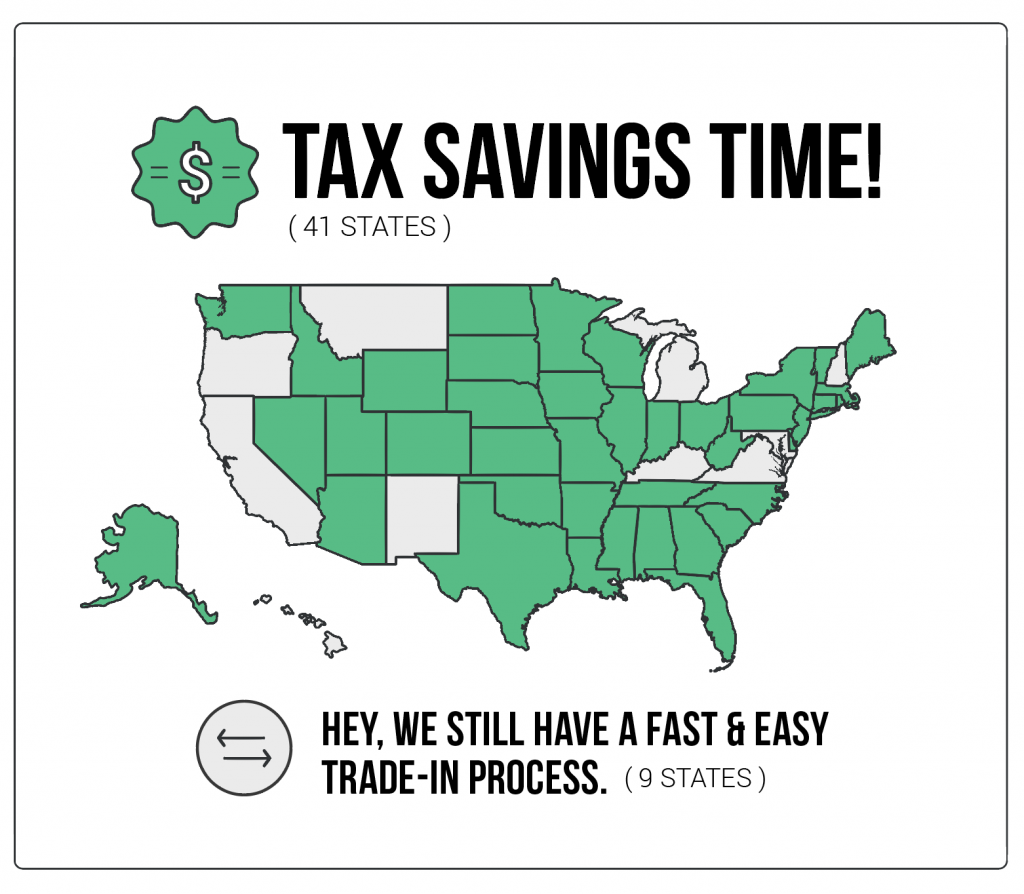 Buying A New Car Use A Trade In To Get A Sweet Tax Credit In These 41 States By Vroom Vroom