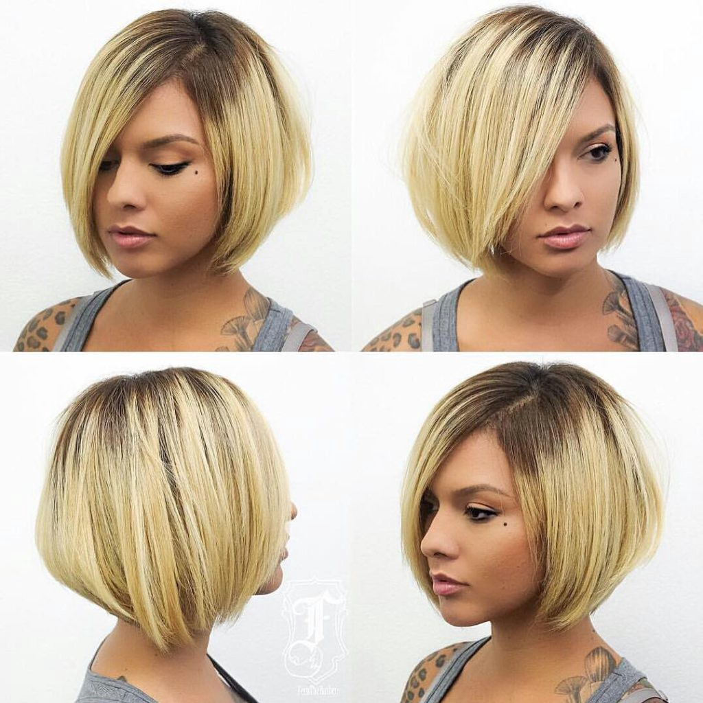 Chic Stacked Bob With Blonde Color And Shadow Roots By Hairstyleology Medium