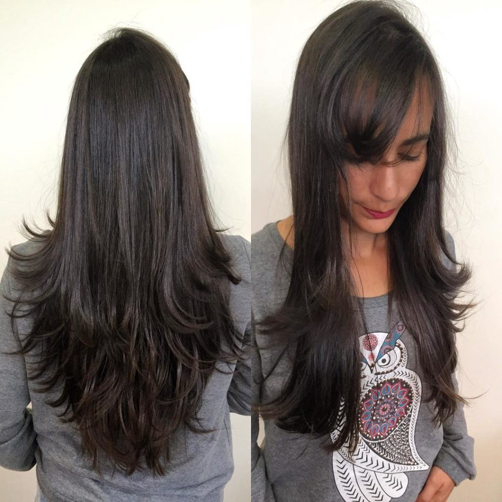 Longhair with Short Razor Cut Layers and Side Swept Bangs on Dark
