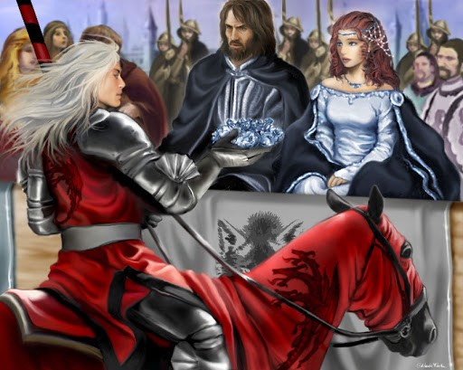 Rhaegar in red jousting armor on his horse, hands a wreath of blue flowers to Lyanna Stark who sits beside her father