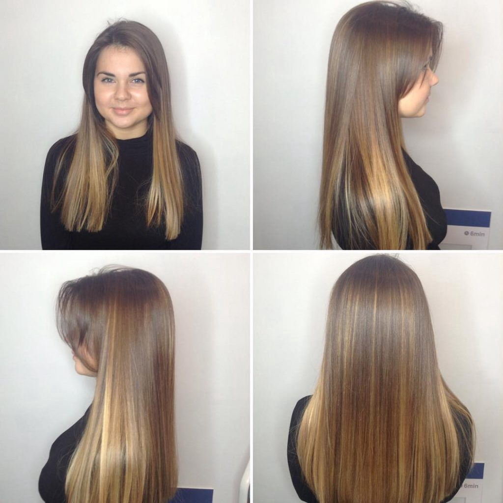 Long Blunt Cut with Long Parted Bangs and Bronde Balayage  by