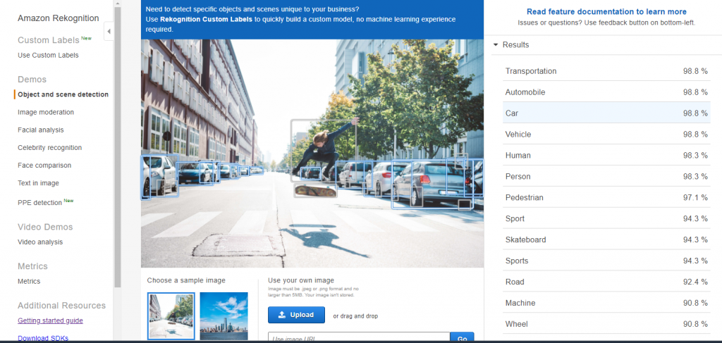 Object Detection with Rekognition on Images