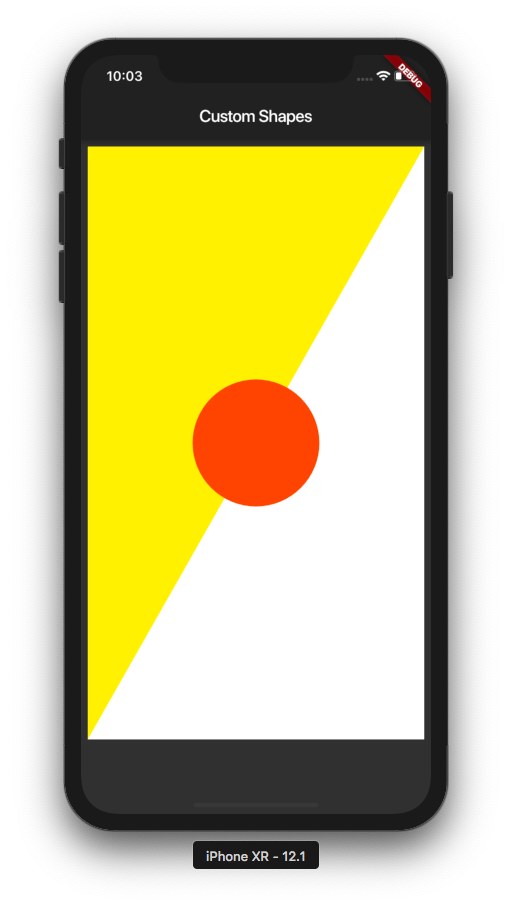 Final app with a white rectangular background and yellow triangle path and an orange circle on top all of which drawn on the canvas.