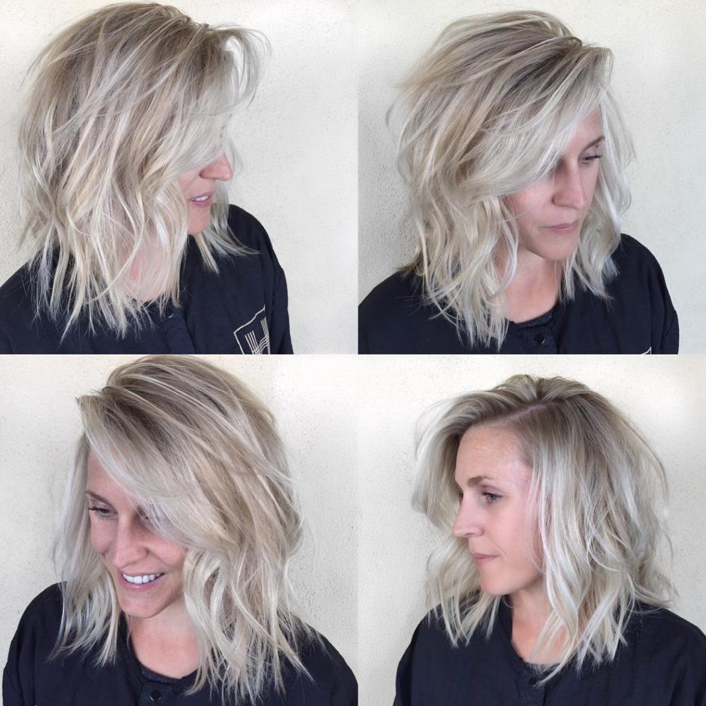 Undone Textured Lob with Long Side Swept Bangs and Pale Blonde