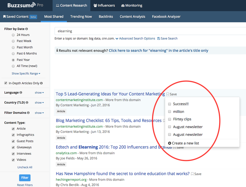 Saved articles for Content Curation in BuzzSumo