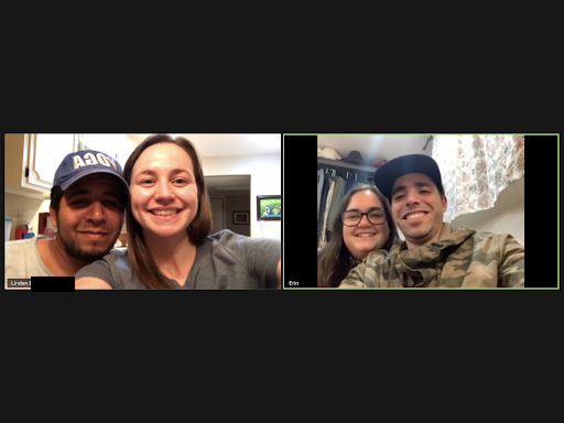 Linden & Ahmed, a couple from Wisconsin, met up virtually with Erin & Abdel, a couple living in D.C.
