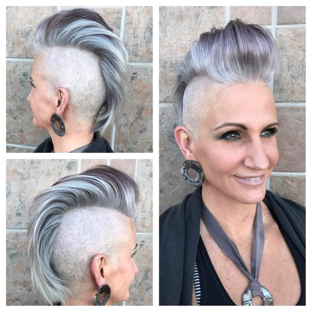 Silver and Grey Faux Hawk Pixie Cut with Pompadour and