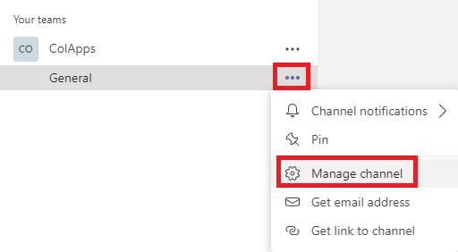 Microsoft Teams with Manage channel button circled