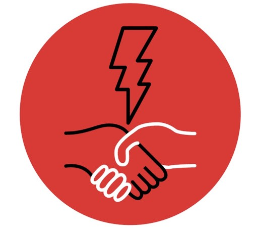 A round red graphic with two hands shaking hands. The hand on the left is drawn with a black line, and the hand on the right with a white line. Above the hands is a lightning bolt, drawn with a black line, pointing down to the middle of the handshake.
