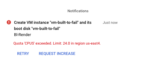 Explanation of failure: us-east4 quota limit of 24.0 CPUs exceeded. Cancel or Request Increase