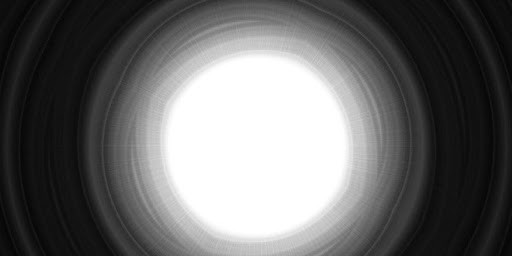 White circle surrounded by concentric circles in increasingly darker shades of gay fading to black